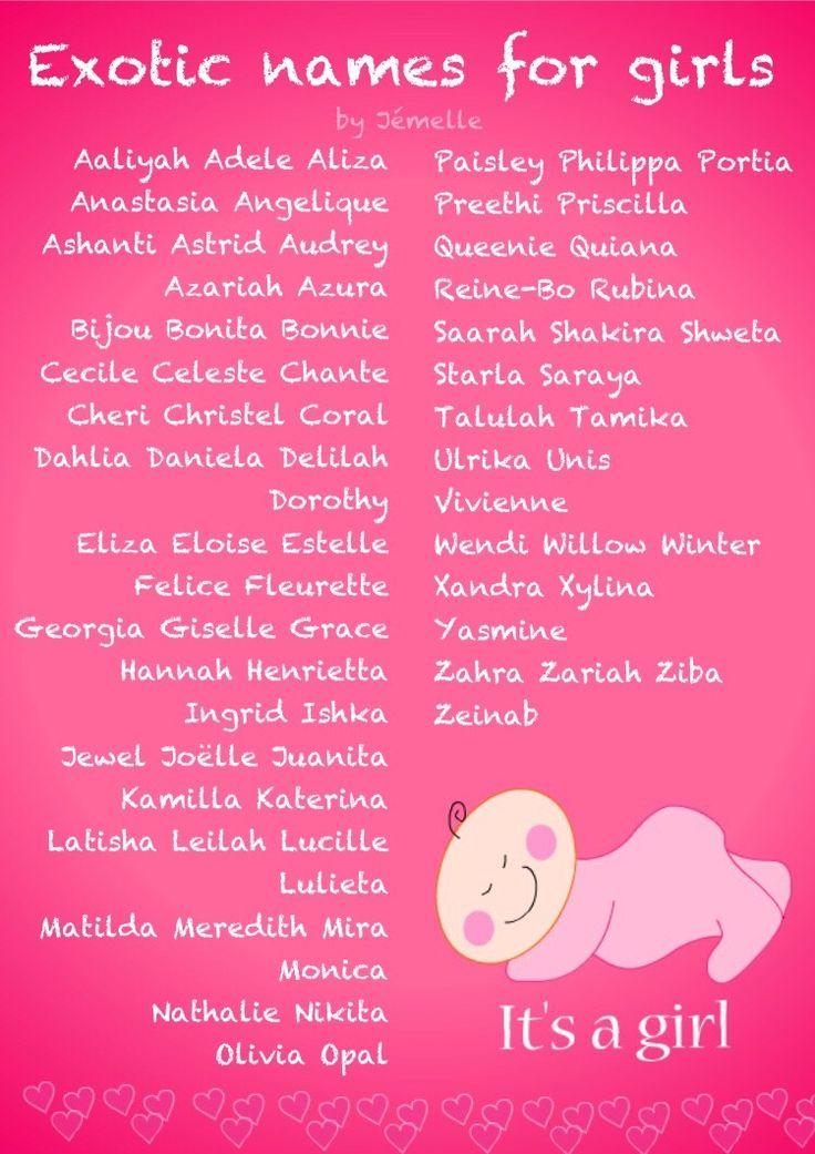 *It's a girl!* Exotic names for girls that are truely unique! ~ by Jémelle