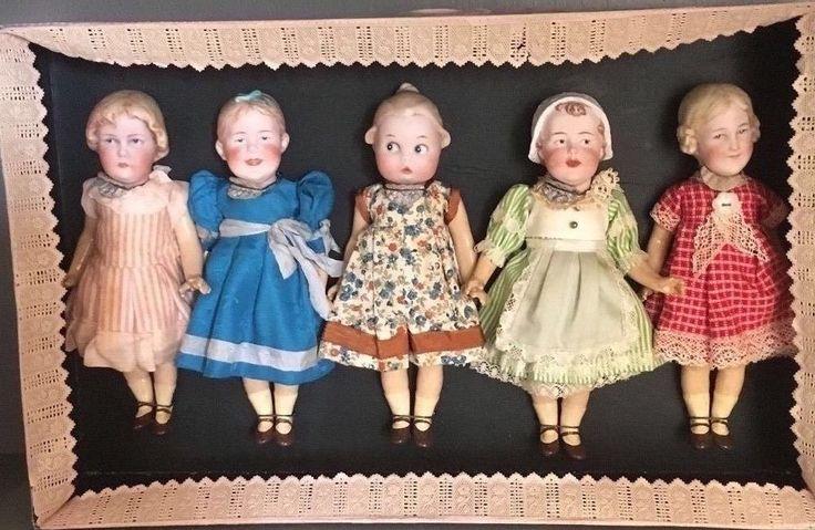 Antike Kollektion von 5 Heubachpuppen mit Porzellankopf im Karton  | eBay