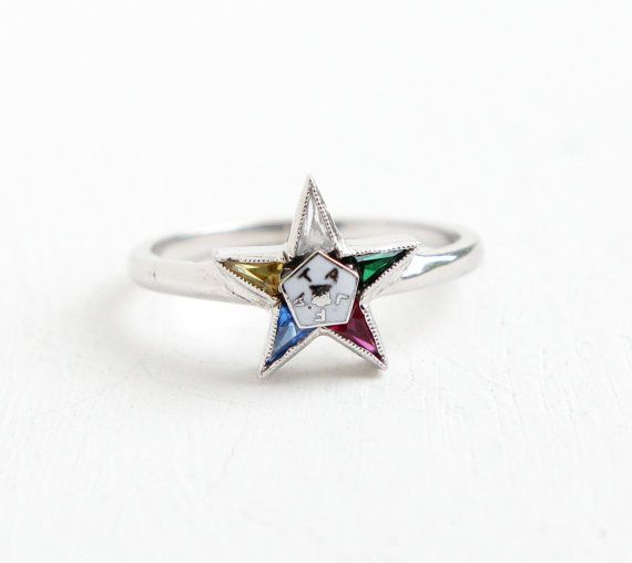 Vintage Order of the Eastern Star ruby ring