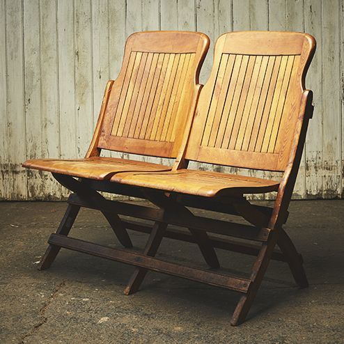 Double Wooden Folding Chairs - Provenance
