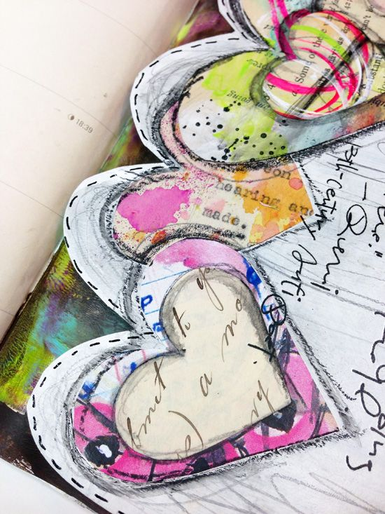 art journal inspiration - hearts ... Art to the 5th