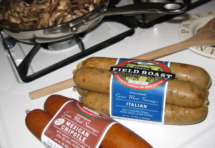 Vegan Sausage from Field Roast.  So good.Vegan Faux, Sausage, Cities Girls, Fields Roasted, Tomatoes Spaghetti, Faux Meat, Cannes Tomatoes, Vegan Food, Spaghetti Sauces
