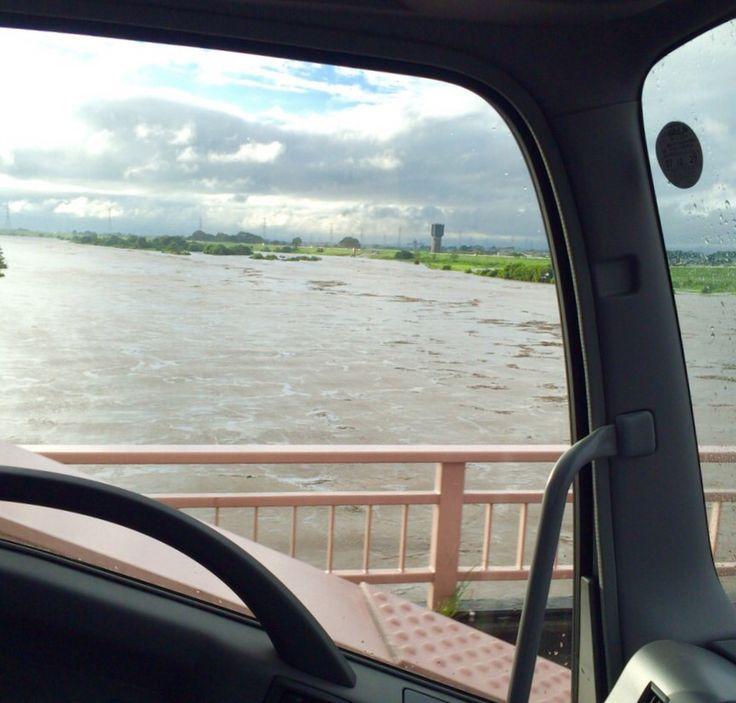 台風18号により増水した利根川@刀水橋