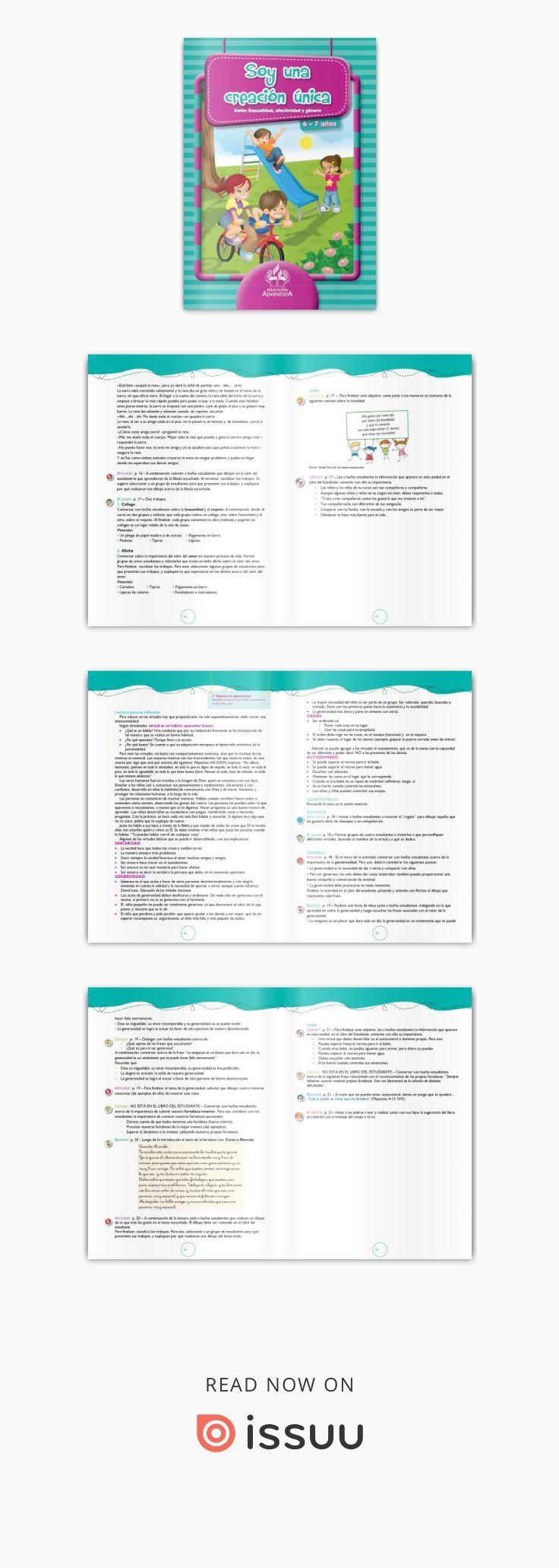Soy una creación única - 6 y 7 años - GD  Guía gratuita para el docente que utiliza los libros de la serie Sexualidad editados por ACES Educación para la red hispana de Educación Adventista de Sudamérica. Corresponde a libros 3 y 4 de la serie.
