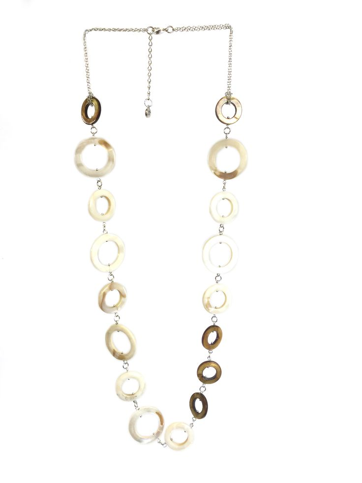 One Button mother of pearl circles necklace with long row #natural #coffee #mop #creamwhites #necklace #accessories #onebutton Click to see more products from the One Button shop.