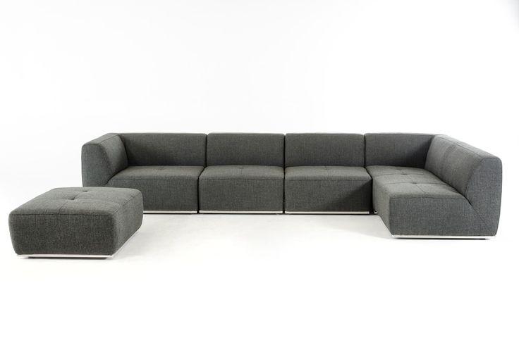 VIG Divani Casa Hawthorn Modern Grey Fabric Sectional Sofa and Ottoman - Sofas - Living Room