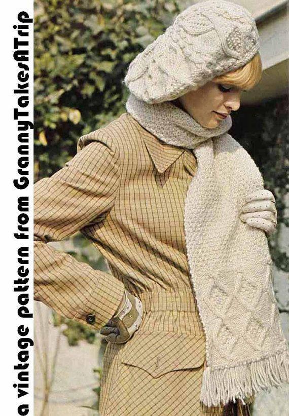 Vintage Knitting Pattern, Instant Download Pdf -1970s Aran SLOUCH HAT?