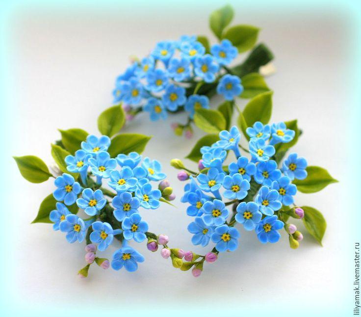 Купить Незабудки (мини брошь, заколочка) - голубой, незабудки, полевые цветы, цветы ручной работы