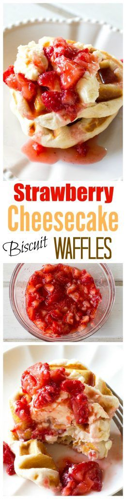 Strawberry Cheesecake Biscuit Waffles - strawberries and cream lathered on waffles made with biscuits! Tastes like strawberry shortcake! the-girl-who-ate-everything.com