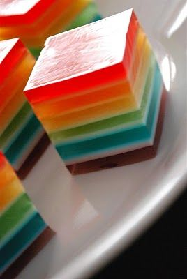 Rainbow Layered Jello.  This reminds me of my mother's friend Gloria, who would make us red and green jello squares when we visited her at Christmas. Its that whitish foamy layer in between each color that really makes these different.