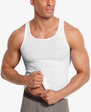 b8d22f111b0d Hanes Men's Big & Tall 4-Pk. A-Line Cotton Tank Undershirts - White 3XLT