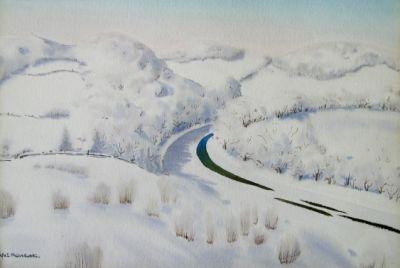 Rafał Malczewski (1892 Kraków - 1965 Montreal) Pejzaż zimowy akwarela/papier 34 x 50 cm