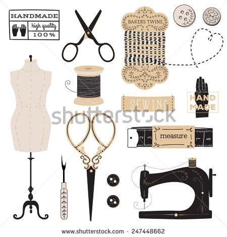Vintage vector tailor's tools - scissors, measuring tape, mannequin, etc. And logo and label collection