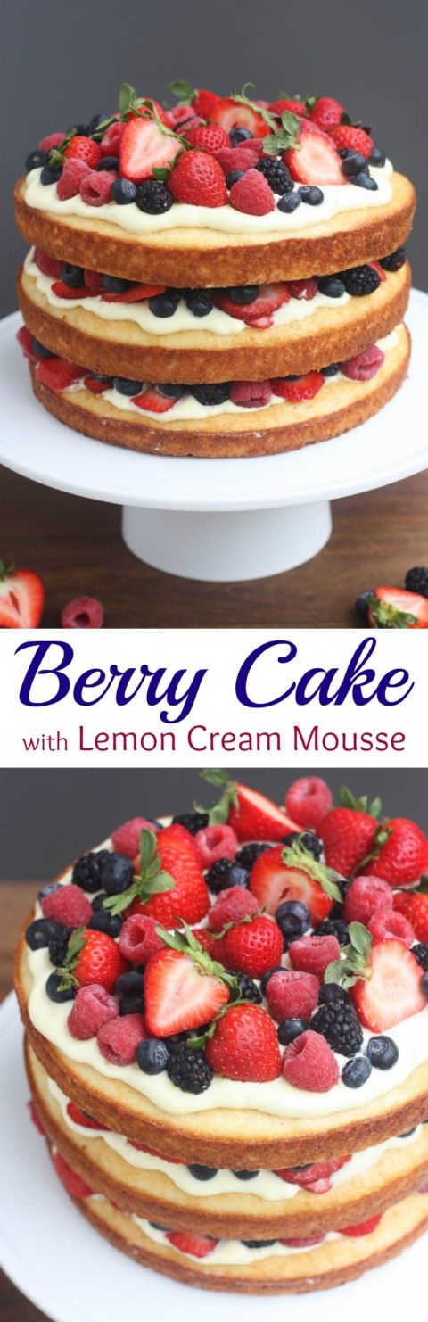 Berry Cake with Lemon Cream Mousse is incredibly delicious, beautiful, and deceivingly easy to make! | Tastes Better From Scratch