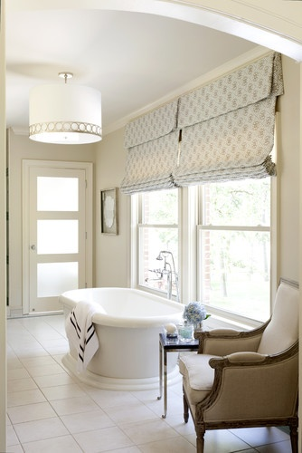 Roman Shades with Fabric Return on Sides