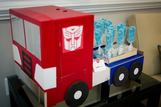 Lollipop stand - Camden's Transformers Birthday Party | CatchMyParty.com