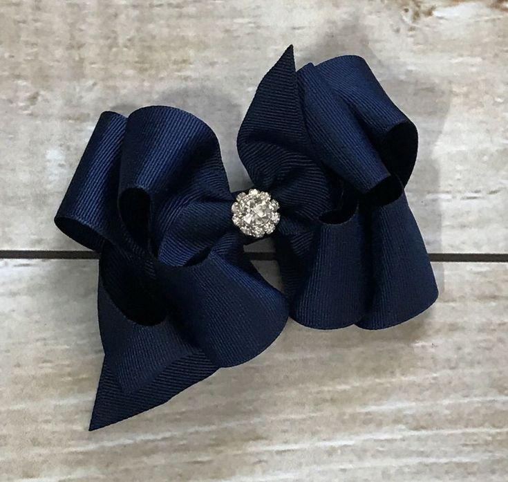 "Blue Hairbow Boutique Bow Easter Dressy Flower Girl Large Bow 5"" Rhinestone Bow    eBay"