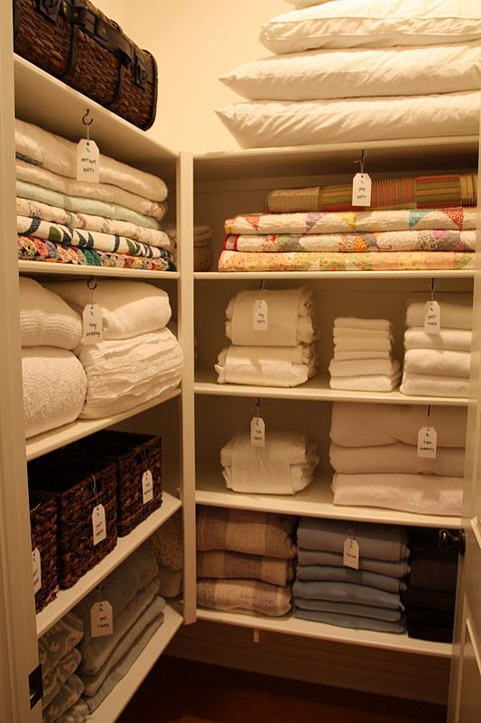 all dressed up pretty my linen closet has: two sets of sheets for each bed extra blankets two sets of towels for each per...