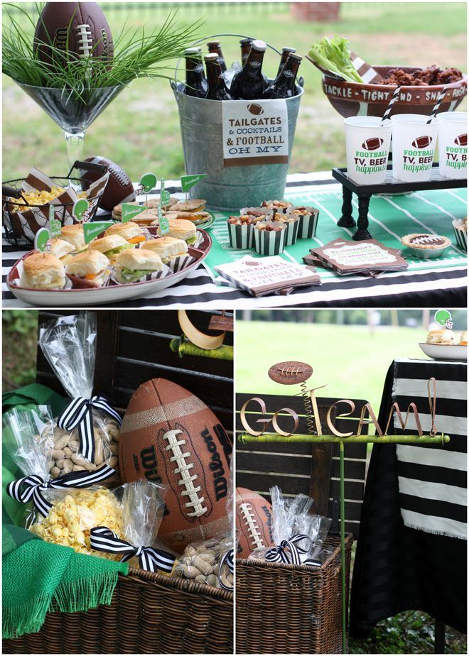 Tailgate inspiration from Swoozie's.  I really like the football and grass in a giant martini glass.