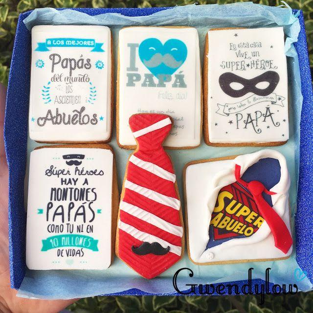 Galletas para regalar a Papás y Abuelos el día del Padre - Impresiones comestibles y fondant - Ñam, Ñam!!!