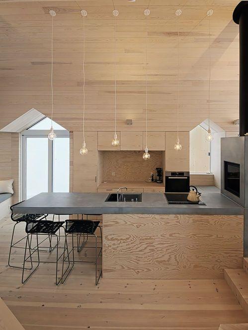 Cozinha Natural de Madeira e Concreto. Arquiteto: Reiulf Ramstad Arkitekter. Fotógrafo: Søren Harder Nielsen.
