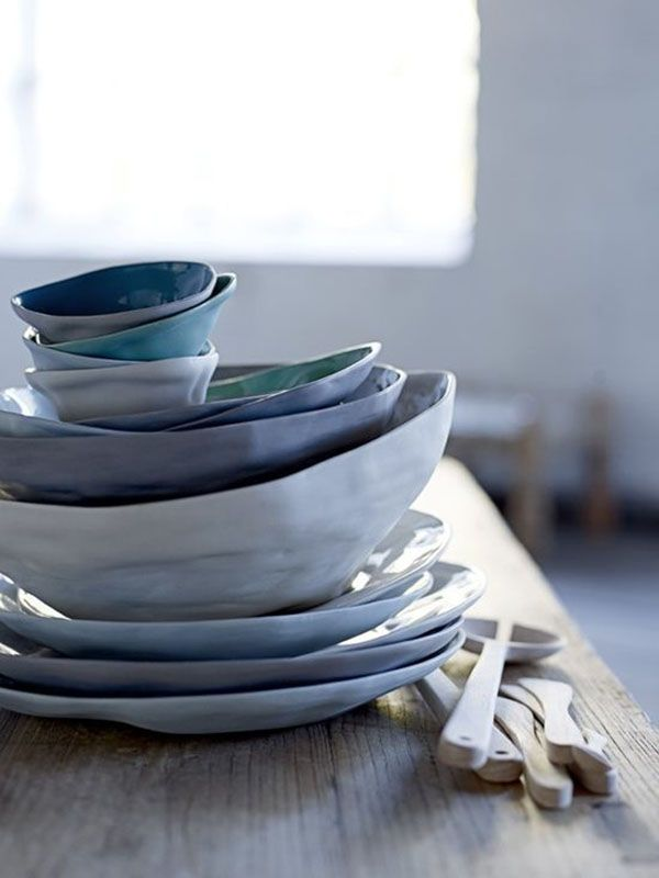 Blue tableware on a wooden table   April and May  #mijnservies