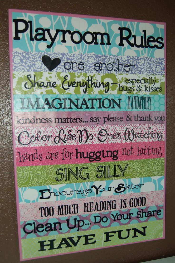 playroom rules; love this