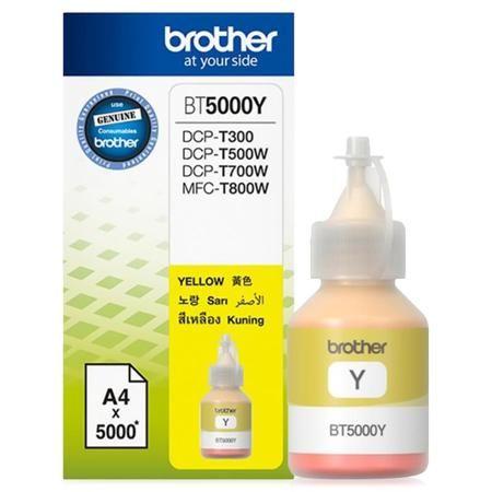 картридж Brother BT5000Y  — 590 руб. —  Чернила Brother BT5000Y поставляются в пластиковом контейнере. Горлышко контейнера заужено и обеспечивает удобную заправку картриджа, а также оснащено пробкой. В емкости находится 41,8 мл чернил, этого хватит для распечатывания в обычном режиме примерно 5000 листов размера А4. Чернила Brother BT5000Y являются расходным материалом для печатающих устройств компании Brother DCP-T300, DCP-T500W и DCP-T700W.