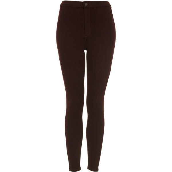 TOPSHOP MOTO Aubergine Joni Jeans ($13) ❤ liked on Polyvore featuring jeans, pants, bottoms, pantalones, calças, aubergine, 5 pocket jeans, topshop jeans, brown jeans and brown skinny jeans