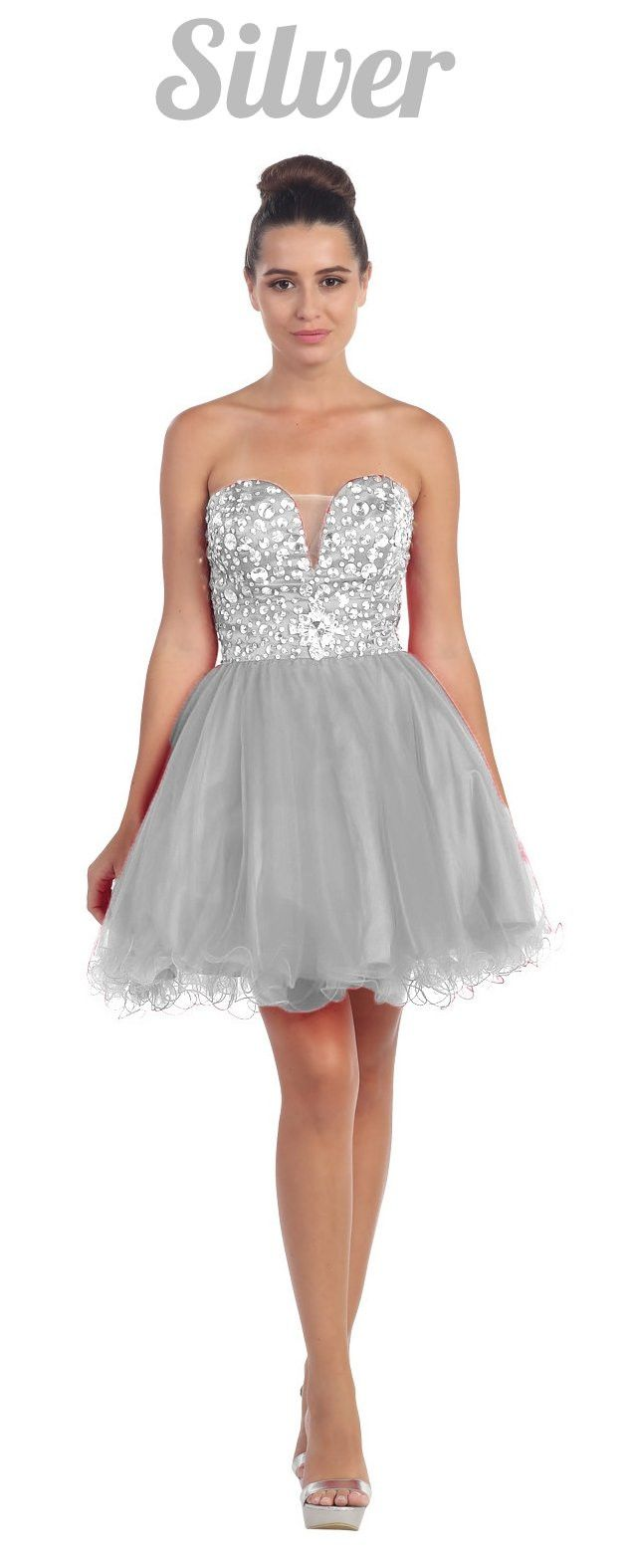 Tulle Poofy Skirt A Line Red Homecoming Dress Strapless | Products
