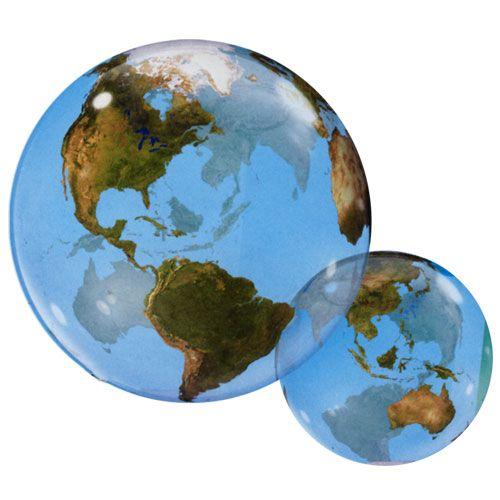 Ballons bubbles (plastique) impression Globe terrestre pour un gonflage à l'hélium de preference. Idéal pour un décors ou apprendre la terre
