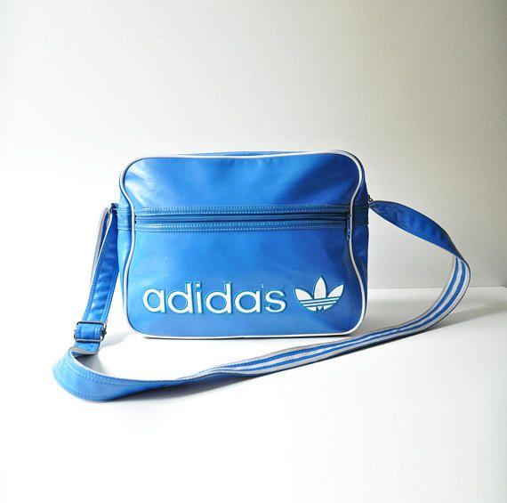 Vintage Blue Adidas Sports Bag  Vinyl  Trefoil Logo  Blue