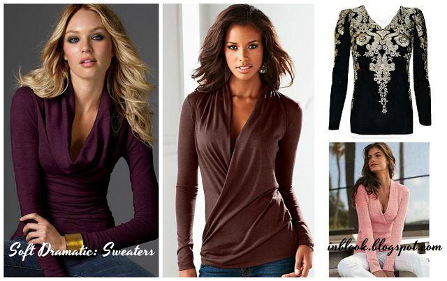Soft Dramatic. Sweaters Свитера: мягкой и тонкой вязки с драпированным вырезом. Бархатистая вязка. Драпированная вязка. Подчеркнутые плечи и удлиненная линия талии. Крупный узор или отделка, особенно богато украшенная или блестящая.