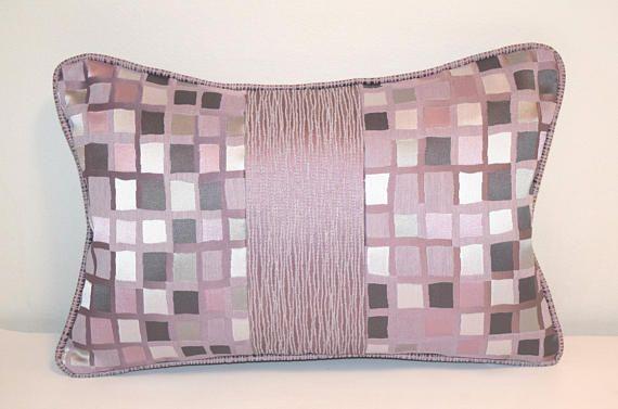 """Purple Lumbar Pillow Cover, 12x18"""" Throw Pillow Cases, Striped Pillow Cover, Check Pillow Cover, Violet Throw Pillow Cases, Pillow Piping"""
