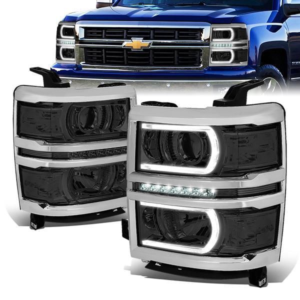 14 15 Chevy Silverado 1500 Led Drl Projector Headlights Smoked Housing Clear Corner With Images Silverado 1500
