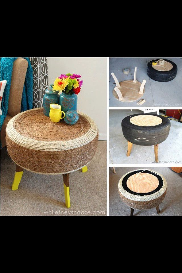 Diy tire side table tires pinterest for Diy tire
