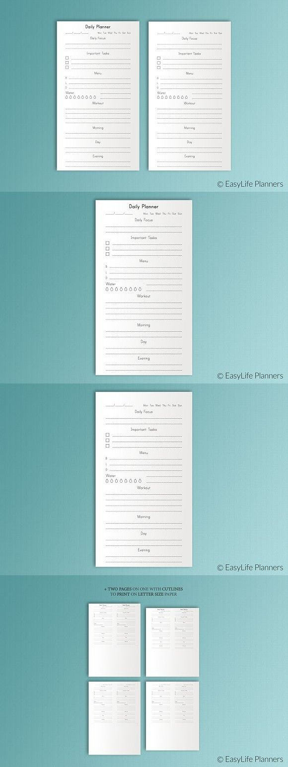Daily Planner Persona Size Fitness. Stationery Templates