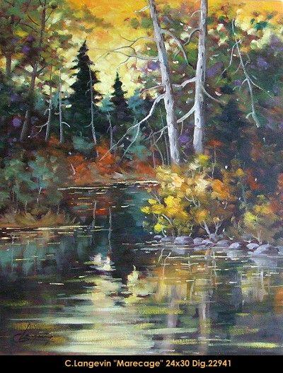 Claude Langevin original oil painting on canevas  #claudelangevin #art #artist #canadianartist #quebecartist #originalpainting #oilpainting #lake #fall #balcondart #multiartltee