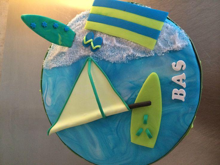Surf taart met surfplank