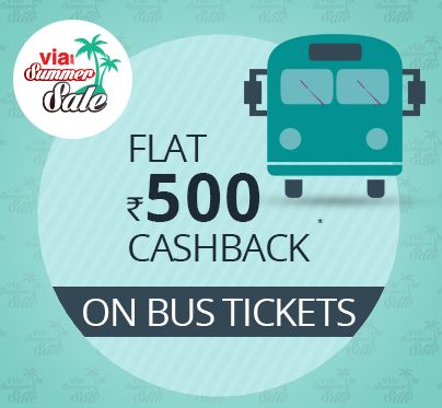 Via is offering Get Flat Rs.500 Cashback on But Ticket Booking How to catch the offer: Click here for offer page Apply offer CodeSUMMERSALE Valid on 25 Apr 2016 – 09 May 2016 Cashback will be in the form of Via points which will be credited to Via accountwithin 5 days