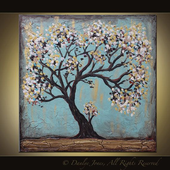Blossom Tree Abstract painting original acrylic on canvas 30 x 30