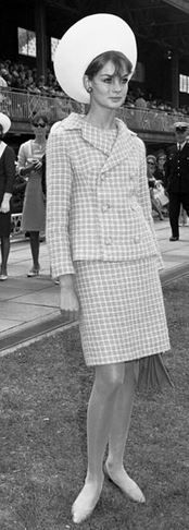 Day 2, rocking a hat, Jean Shrimpton at the Melbourne VRC Spring Racing Carnival 1965.