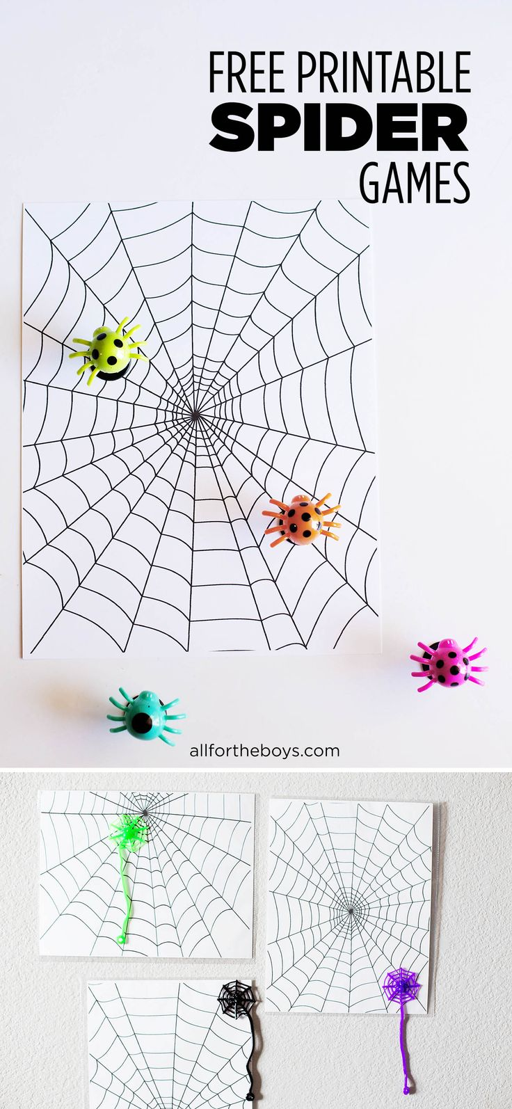 free printable spider games - fun for a Halloween party or just to play a fun game on a rainy day