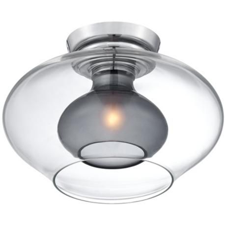 "Ionia Chrome 13 1/4"" Wide Smoke Glass Ceiling Light -"