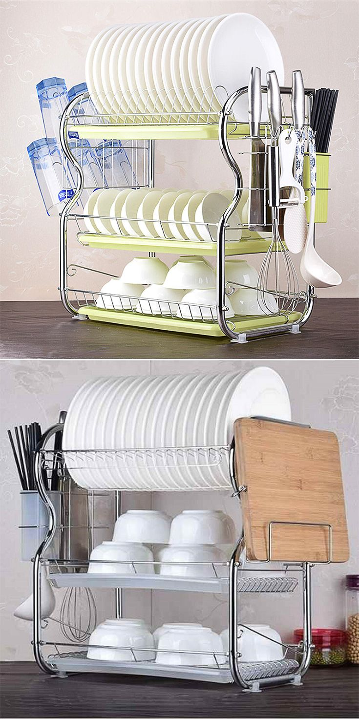 3 Tier Stainless Steel Kitchen Sink Dish Rack Cup Drying Drainer Tray Cutlery Holder Counter Organizer Storage Space Saving Shelf Space Saving Shelves Stainless Steel Kitchen Sink Sink Dish Rack