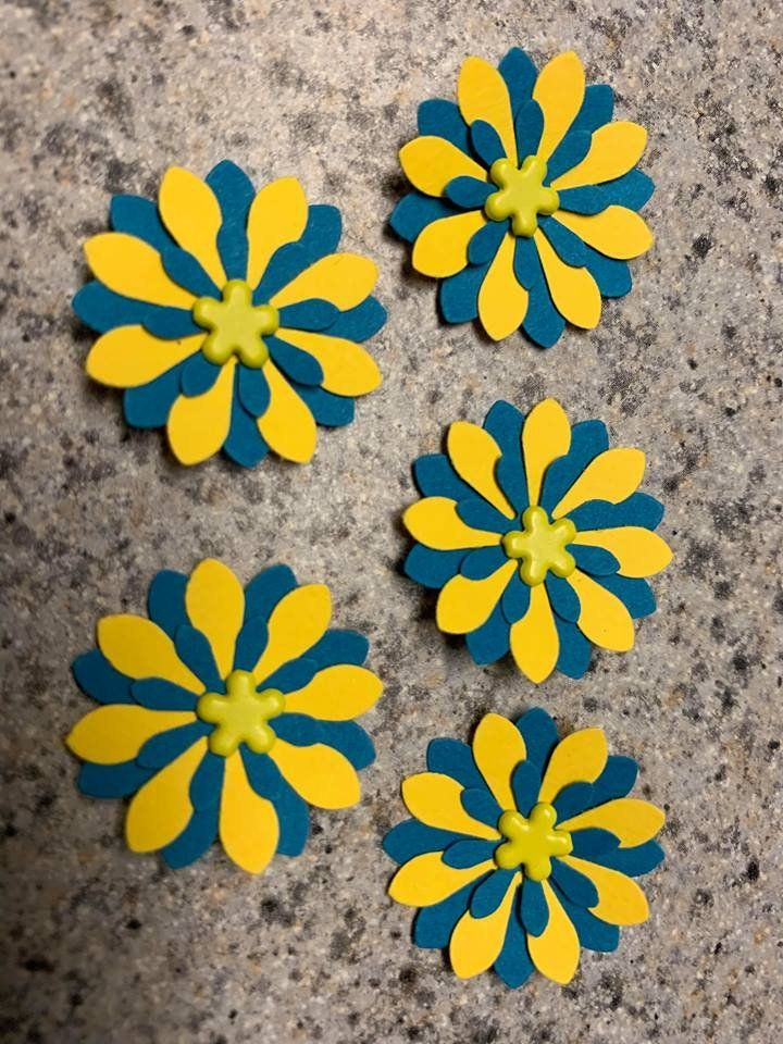Handmade Small Paper Flowers Ready to Ship Card Making Flowers Scrap Booking Flowers Craft Flowers Metal Brad Center