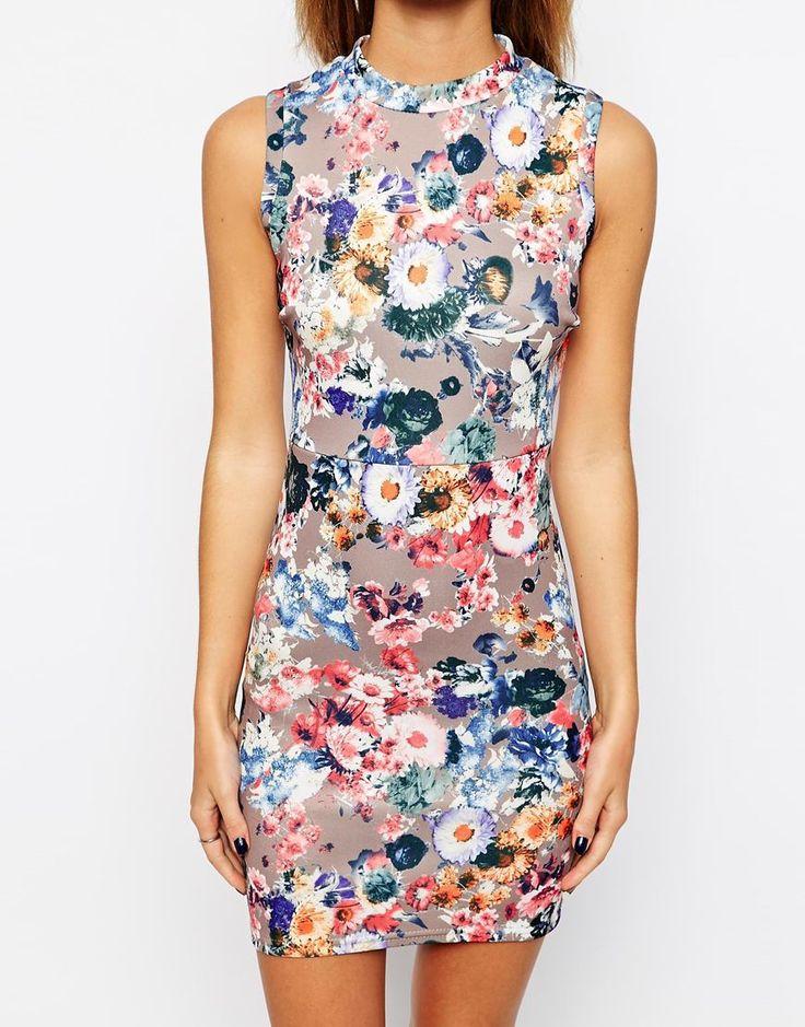 Petite Body-Conscious Floral Scuba Dress