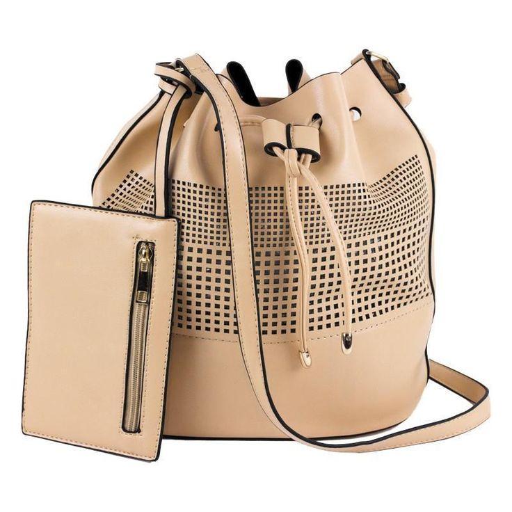 Beige Bucket Handbag Drawstring Closure PU Leather  Laser Cut Design NWT #Simi #BucketBag