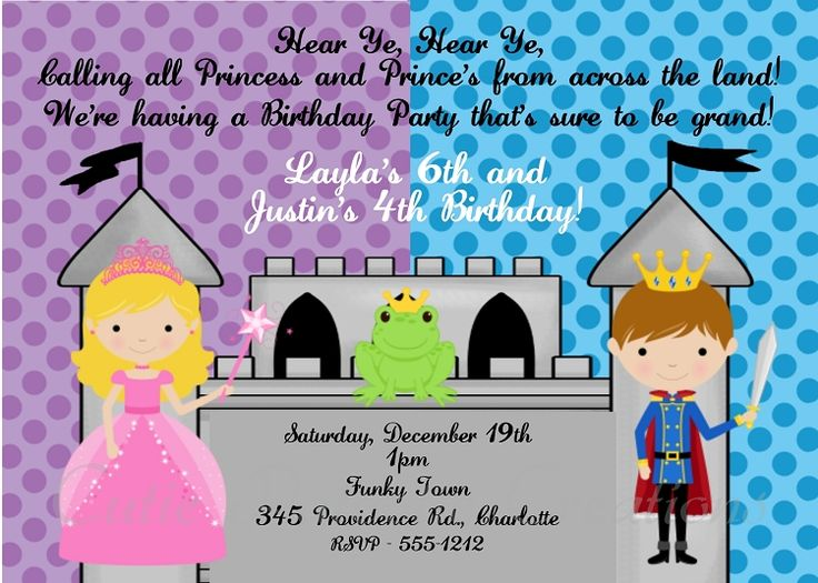 14 best images about prince and princess birthday – Princess and Knight Party Invitations