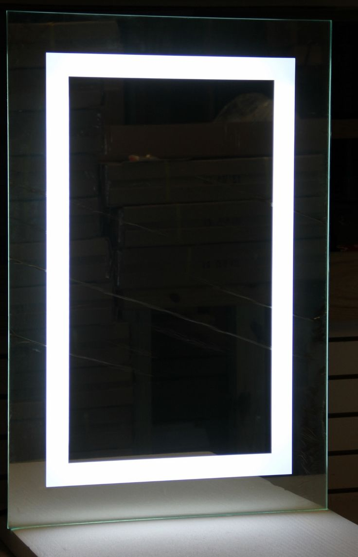 LED Bordered Illuminated Mirror with Bluetooth Speakers - Large - Lighted Image
